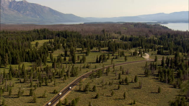 Flight Heading For the State Border With Idaho Across the Caribou Targhee National Forest  - Aerial View - Wyoming,  Teton County,  helicopter filming,  aerial video,  cineflex,  establishing shot,  United States