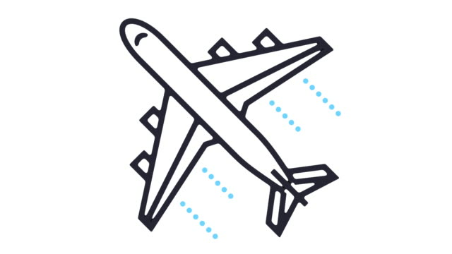 flight icon animation - line art video stock e b–roll