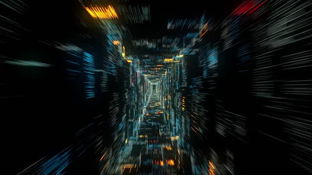 flyg i abstrakt sci-fi-tunnel. futuristisk vj-rörelsegrafik för musikvideo, edm-klubbkonsert, högteknologisk bakgrund. tidsförstärkelseportal, lightspeed hyperspace koncept. 4k 3d-animering - minskande perspektiv bildbanksvideor och videomaterial från bakom kulisserna