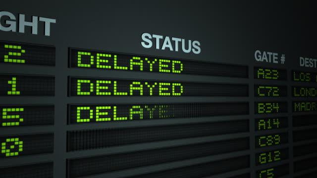 flight information board - delayed - digital signage stock videos & royalty-free footage