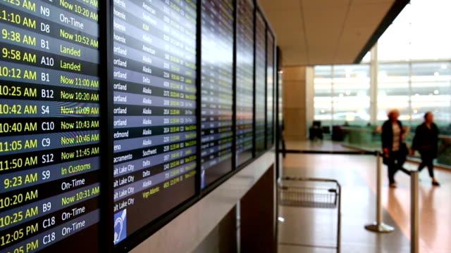 flight information on billboard in airport