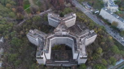 Flight over an unfinished Khovrinskaya abandoned hospital