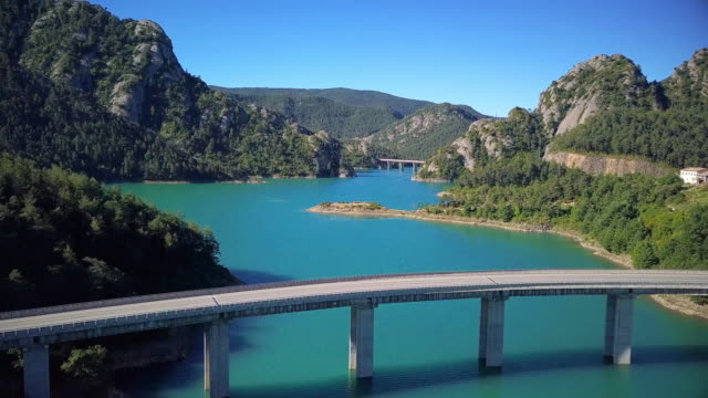 Flight over beautiful lake in mountains of Spain