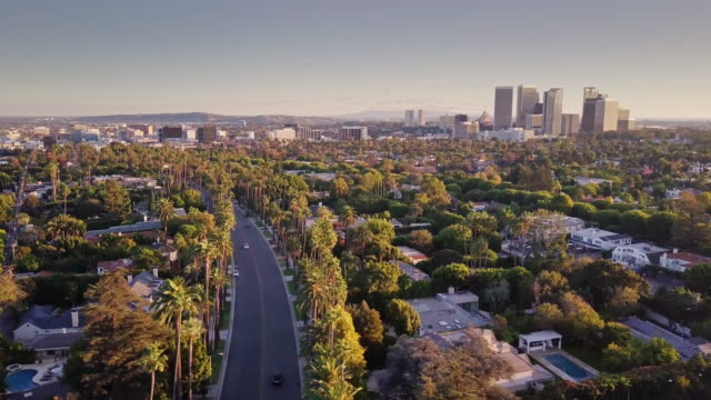 flight over beverly hills - century city stock videos & royalty-free footage