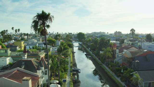 flight over canal in venice, california - canal stock videos & royalty-free footage
