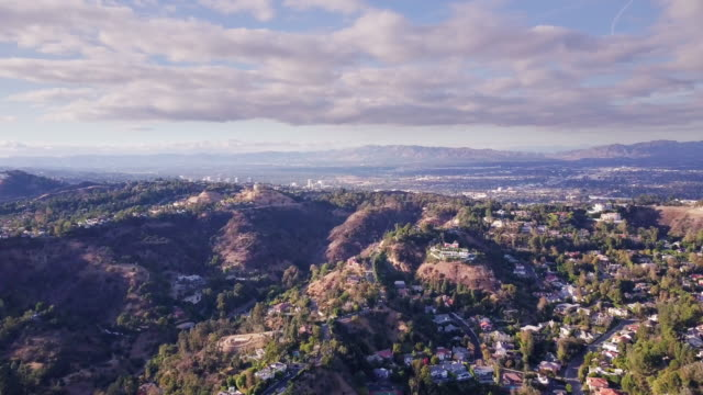 flight over canyons in beverly hills - canyon stock videos and b-roll footage