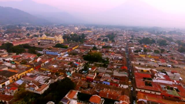 Flight over city of Antigua close to La Merced Church, Guatemala