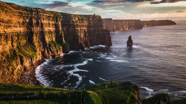 flight over cliffs of moher in ireland - doolin stock videos & royalty-free footage