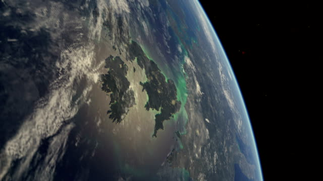 flight over earth from europe - solar flare stock videos and b-roll footage