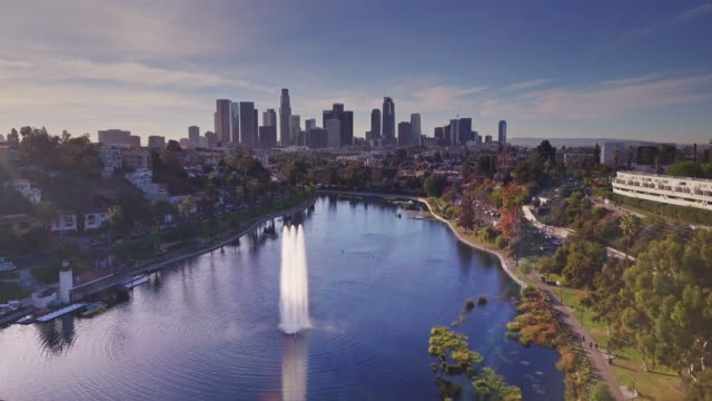 vídeos de stock, filmes e b-roll de flight over echo park, los angeles - silhueta urbana