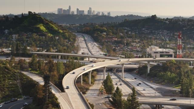 flight over freeway interchange in eagle rock, los angeles - glendale california stock videos & royalty-free footage