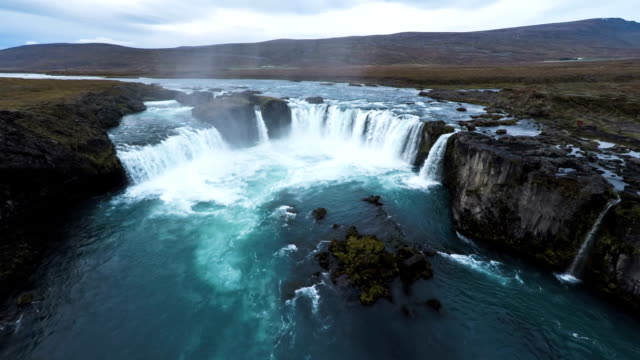 Flight over Godafoss Waterfall in Iceland
