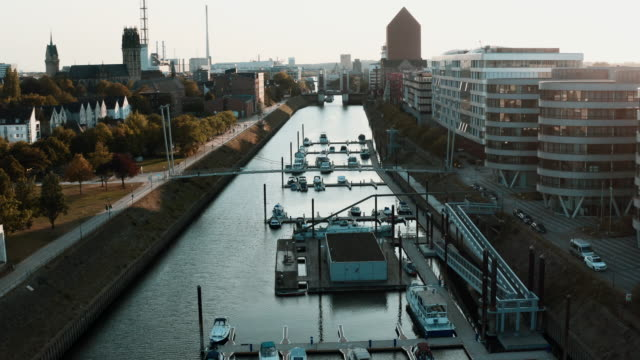 flight over harbour in duisburg, germany - mayor stock videos & royalty-free footage