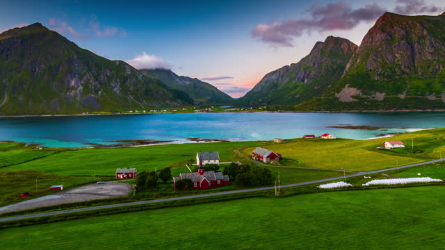Flight over idyllic landscape at the Lofoten Islands in Norway - Aerial View