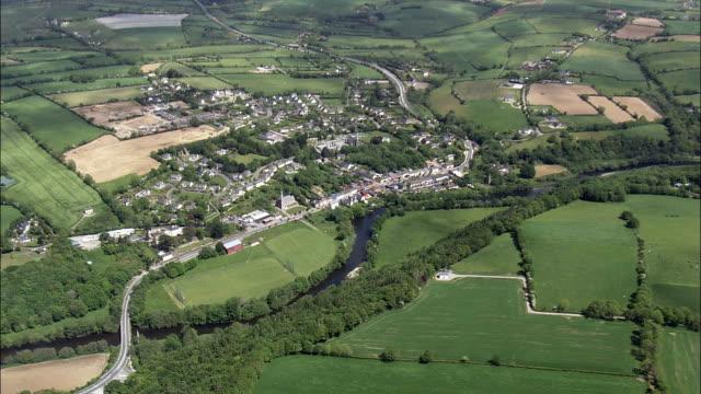flight over innishannon  - aerial view - munster,  cork,  helicopter filming,  aerial video,  cineflex,  establishing shot,  ireland - county cork stock videos & royalty-free footage