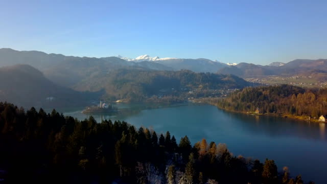 flight over lake bled - lake bled stock videos & royalty-free footage