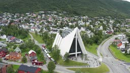 Flight over modern Arctic Cathedral in Tromso