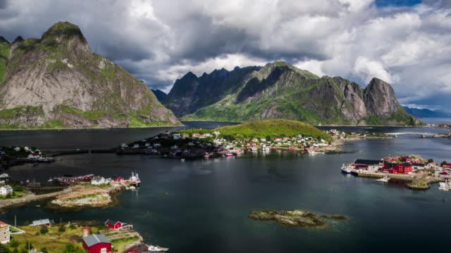 Flyg över Reine i Norge, Lofoten öarna