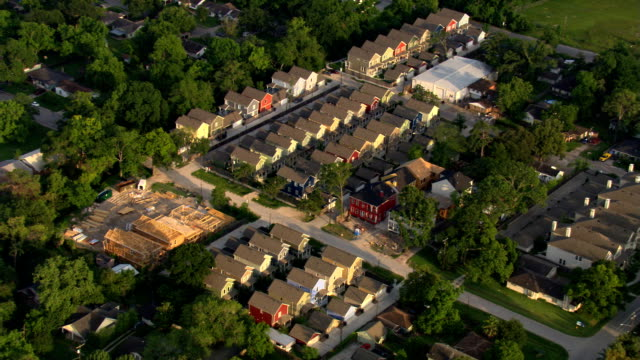 Flight over row houses and the suburbs of Houston. Shot in 2007.