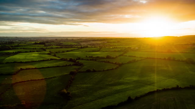 flight over rural landscape in ireland - dramatic landscape stock videos & royalty-free footage