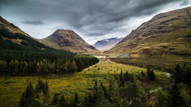 flight over scottish highlands at glen etive - overhead view stock videos & royalty-free footage
