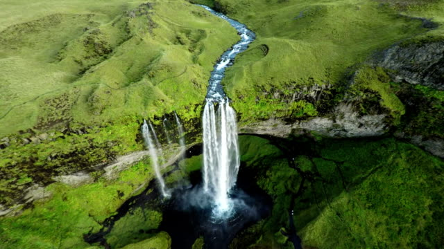 Flight over Seljalandfoss Waterfall in Iceland