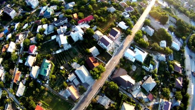 Flight over suburb