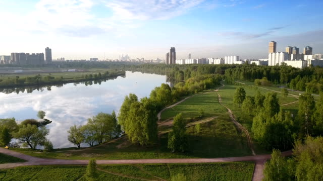 flight over suburban park of moscow, russia. - moscow russia stock videos & royalty-free footage
