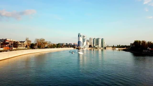 Flyg över floden Kuban i Krasnodar