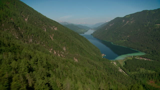 flight over weissensee - carinthia (gailtal alps) - carinthia stock videos & royalty-free footage