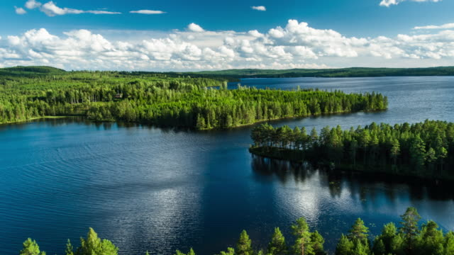 flight over wilderness landscape with lakes and forest - 4k nature/wildlife/weather - svezia video stock e b–roll