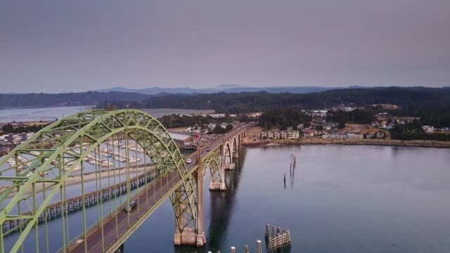 flight over yaquina bay, oregon - oregon coast stock videos & royalty-free footage