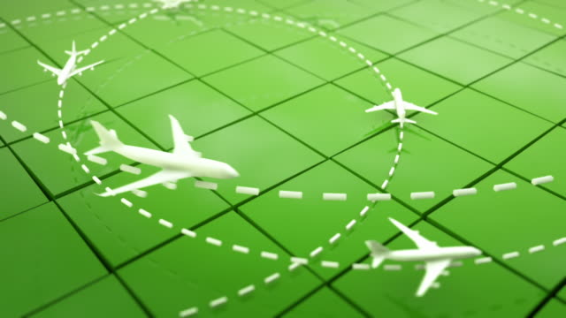 flight path airplanes background loop - green (full hd) - air traffic control tower stock videos and b-roll footage
