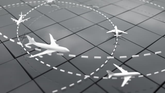 Flight Path Airplanes Background Loop - Grey (Full HD)