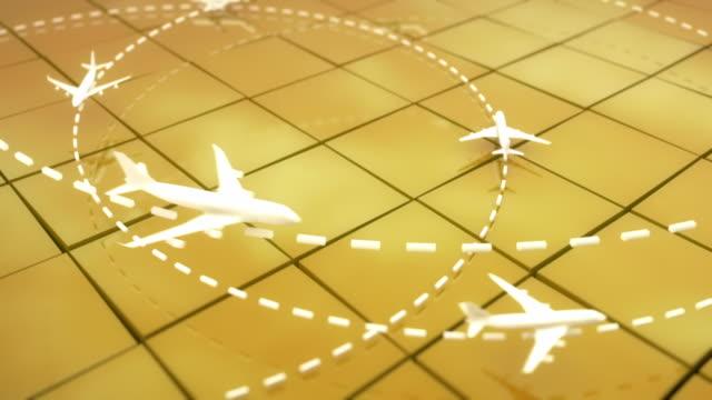 flugzeug flug pfad hintergrund loop-gelb (full hd - flughafen kontrollturm stock-videos und b-roll-filmmaterial