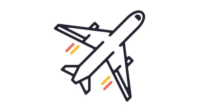 vídeos y material grabado en eventos de stock de simulador de vuelo software icono line animación con alfa - avión de pasajeros