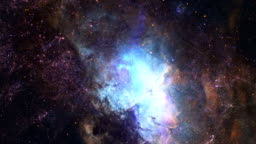 3D Flight to Stars Galaxy. Real Space in 4K