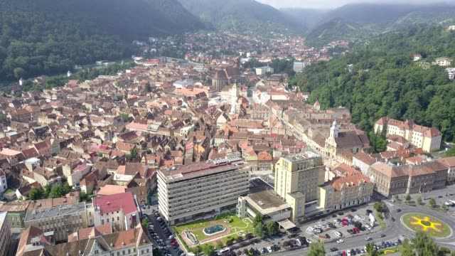 Flight towards downtown Brasov