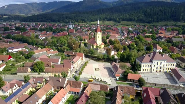 Flight towards the fortified church in Cristian, Brasov