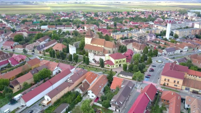 Flight towards the fortified church in Ghimbav, Brasov
