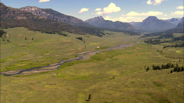 flight up soda butte creek  - aerial view - montana, park county, united states - butte montana stock videos & royalty-free footage