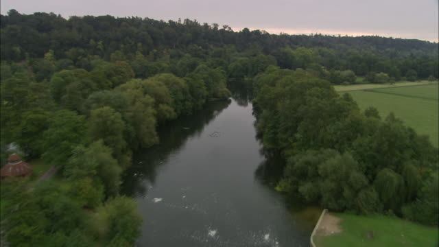 flight up thames to cliveden - river thames stock videos & royalty-free footage