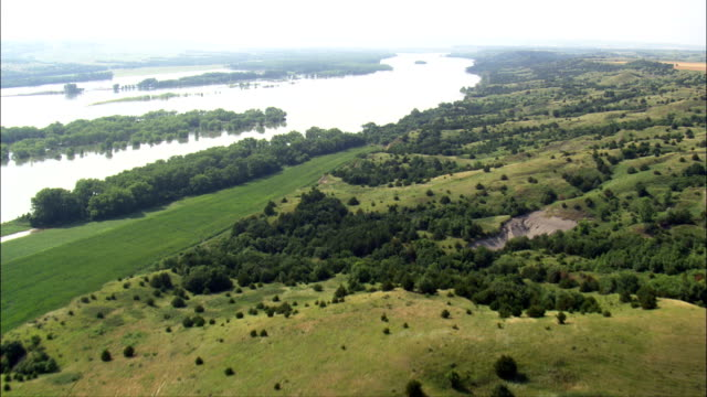 flight up the north bank of the missouri river  - aerial view - south dakota, charles mix county, united states - south dakota stock videos and b-roll footage