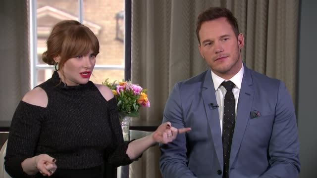 'jurassic world fallen kingdom' stars talk about new blockbuster england london int bryce dallas howard interview sot chris pratt interview sot - itv news at ten stock videos & royalty-free footage