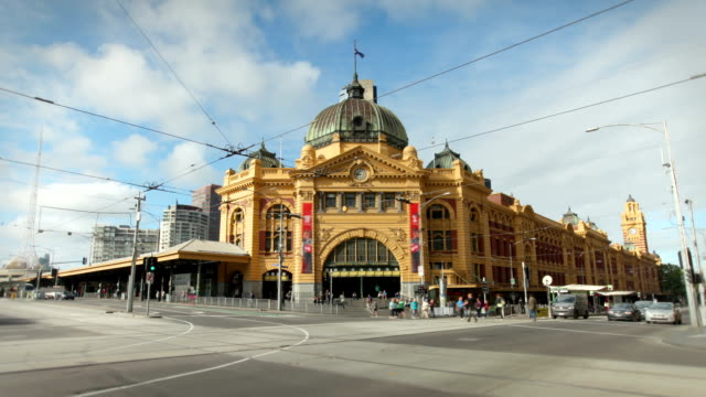 flinders street station, melbourne, australia - tram stock videos & royalty-free footage