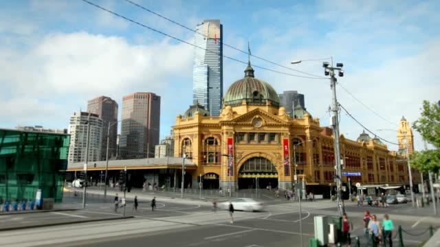 flinders street station, melbourne, australia - victoria australia stock videos & royalty-free footage