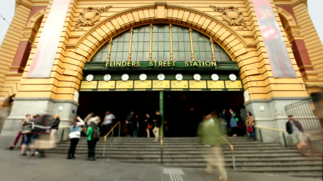 flinders street station, melbourne, australia - railway station stock videos & royalty-free footage
