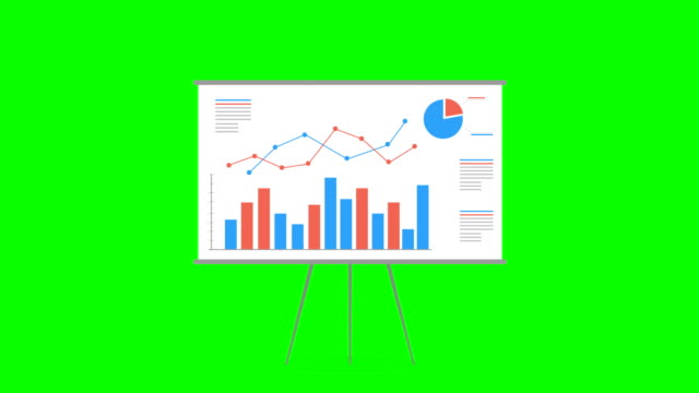 flip chart, chart board, motion graphics. business growth financial chart cartoon infographic animation. chroma key. - strategy stock videos & royalty-free footage