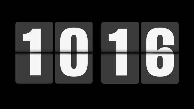Flip clock 10-11 o'clock on black background