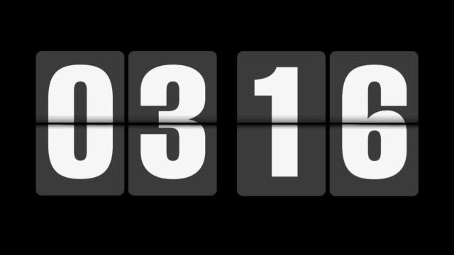 Flip clock 3-4 o'clock on black background